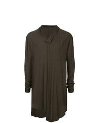 dunkelbraunes Langarmshirt mit einer Knopfleiste von Julius