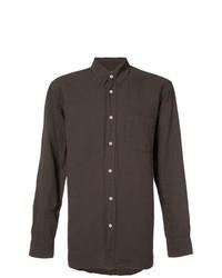 dunkelbraunes Leinen Langarmhemd