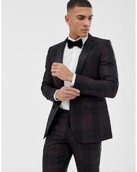 dunkelbraunes Sakko mit Schottenmuster von Burton Menswear