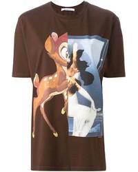 dunkelbraunes T-Shirt mit einem Rundhalsausschnitt