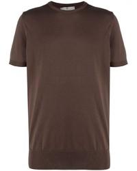dunkelbraunes T-Shirt mit einem Rundhalsausschnitt von Canali