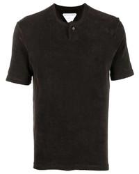 dunkelbraunes T-shirt mit einer Knopfleiste von Bottega Veneta