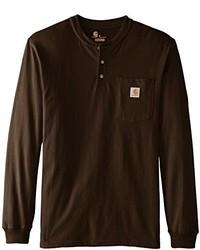 Dunkelbraunes t shirt mit knopfleiste original 2604309