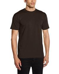 dunkelbraunes T-Shirt mit einem Rundhalsausschnitt von Fruit of the Loom