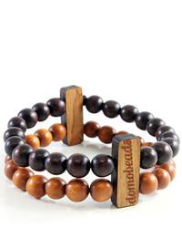 dunkelbraunes verziert mit Perlen Armband