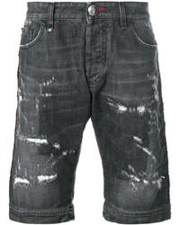 dunkelgraue Baumwollshorts mit Destroyed-Effekten von Philipp Plein