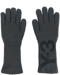 dunkelgraue bedruckte Handschuhe von Y-3