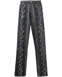 dunkelgraue bedruckte Jeans von Versace