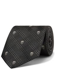 dunkelgraue bedruckte Krawatte von Alexander McQueen