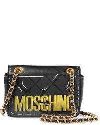 dunkelgraue bedruckte Ledertaschen von Moschino