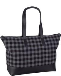 dunkelgraue bedruckte Shopper Tasche aus Segeltuch von Jost