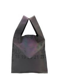 dunkelgraue bedruckte Shopper Tasche aus Segeltuch von Maison Margiela