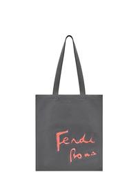 dunkelgraue bedruckte Shopper Tasche von Fendi