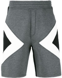 dunkelgraue bedruckte Shorts von Neil Barrett