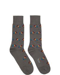 dunkelgraue bedruckte Socken von Paul Smith