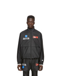 dunkelgraue bedruckte Windjacke von Adidas Originals By Alexander Wang