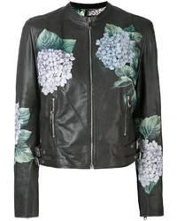 dunkelgraue Bikerjacke mit Blumenmuster von Dolce & Gabbana