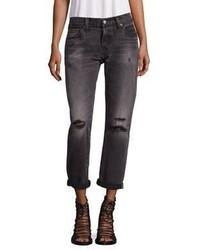 dunkelgraue Boyfriend Jeans mit Destroyed-Effekten