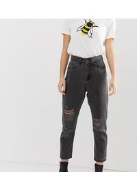 dunkelgraue Boyfriend Jeans mit Destroyed-Effekten von Noisy May Petite