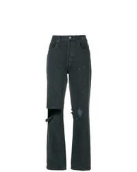 dunkelgraue Boyfriend Jeans mit Destroyed-Effekten von RE/DONE