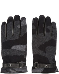 dunkelgraue Camouflage Handschuhe von Valentino