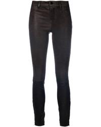 dunkelgraue enge Hose aus Leder von J Brand