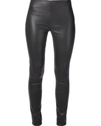 dunkelgraue enge Hose aus Leder von MiH Jeans
