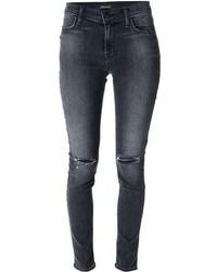 dunkelgraue enge Jeans mit Destroyed-Effekten