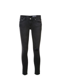 dunkelgraue enge Jeans mit Destroyed-Effekten von AG Jeans