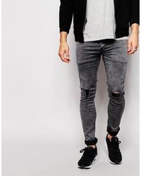 dunkelgraue enge Jeans mit Destroyed-Effekten von Antioch