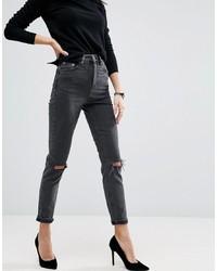 dunkelgraue enge Jeans mit Destroyed-Effekten von ASOS DESIGN