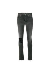 dunkelgraue enge Jeans mit Destroyed-Effekten von Balenciaga