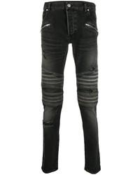 dunkelgraue enge Jeans mit Destroyed-Effekten von Balmain