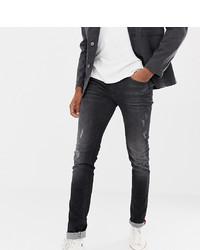 dunkelgraue enge Jeans mit Destroyed-Effekten von BLEND