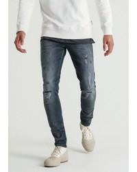 dunkelgraue enge Jeans mit Destroyed-Effekten von Chasin'