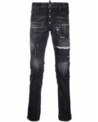 dunkelgraue enge Jeans mit Destroyed-Effekten von DSQUARED2