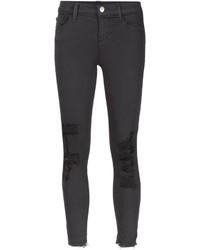 dunkelgraue enge Jeans mit Destroyed-Effekten von J Brand