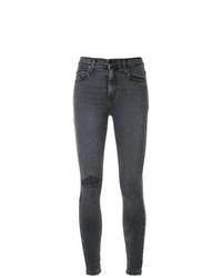 dunkelgraue enge Jeans mit Destroyed-Effekten von Nobody Denim