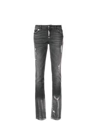 dunkelgraue enge Jeans mit Destroyed-Effekten von Philipp Plein