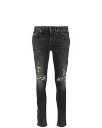 dunkelgraue enge Jeans mit Destroyed-Effekten von R13