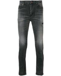 dunkelgraue enge Jeans mit Destroyed-Effekten von Saint Laurent