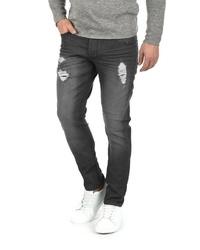 dunkelgraue enge Jeans mit Destroyed-Effekten von Solid