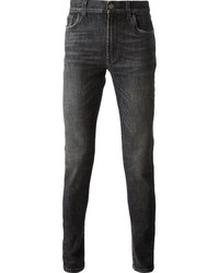 dunkelgraue enge Jeans