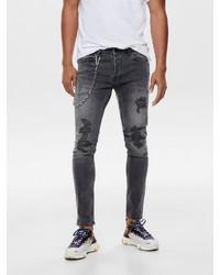 dunkelgraue enge Jeans von ONLY & SONS
