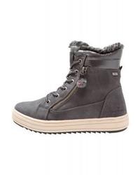 dunkelgraue flache Stiefel mit einer Schnürung aus Leder von Tom Tailor