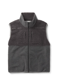 dunkelgraue Fleece-ärmellose Jacke
