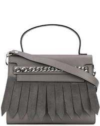dunkelgraue Shopper Tasche aus Wildleder mit Fransen von Casadei
