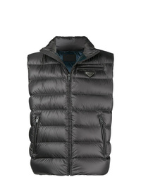 dunkelgraue gesteppte ärmellose Jacke von Prada