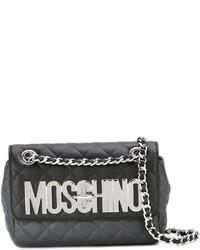dunkelgraue gesteppte Leder Umhängetasche von Moschino