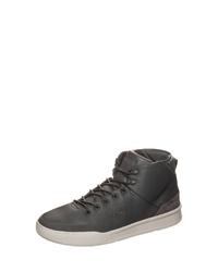 dunkelgraue hohe Sneakers aus Leder von Lacoste